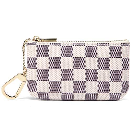 Gucci Canvas Mini (Daisy Rose X Katy Roach Luxus Zip Checkered Schlüsselanhänger Pouch | Pu Vegan Leder Mini Geldbörse Geldbörse mit Haken Klein Sahne)