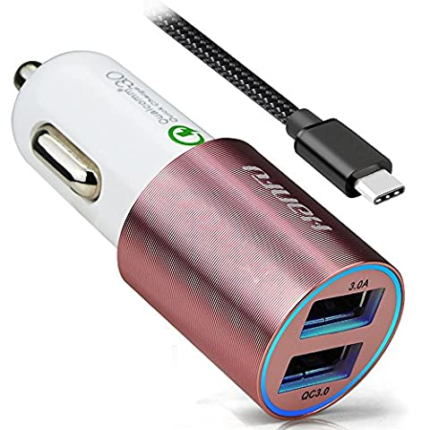 HANFU Quick Charge 3.0 Car Charger Dual USB Fast Port