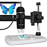 MAOZUA 5MP 20x-300x Magnifier USB Microscope 5MP with Professional Base Stand for Windows, Mac, Vista with 8 LED Lights