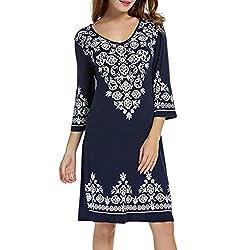 Women's Dress Clearance OverDose 3/4 Sleeve Casual Flowy Print Swing T-Shirt Tunic Dress