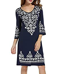 Women's Dress Clearance OverDose 3/4 Sleeve Casual Flowy Print Swing T-Shirt Tunic Dress