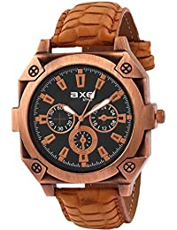 AXE Style X1163KL01 Unique & Stylish Black Analog Dial With Synthetic Light Brown Leather Strap Watch For Men/Boy