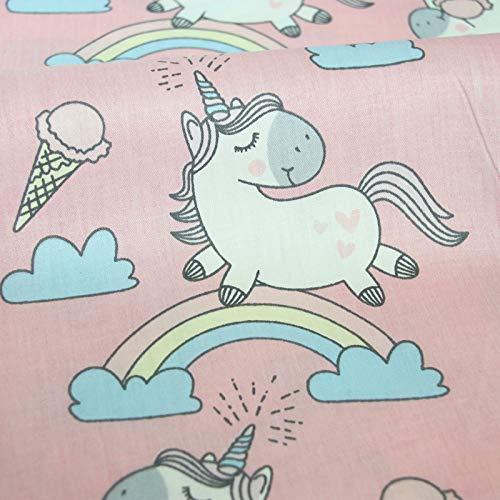 Tela unicornios rosa metros 1 unidad es 0.50 m. x