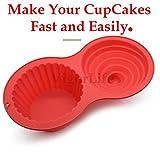 Riesen Muffinform aus Silikon Jumbo Cupcake Backform mit 2 Kuchenform-Motiven aus Silikon hitzebeständig platzsparend spülmaschinenfest Ideal für Weihnachtskuchen Geburtstag Familientreffen usw