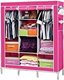 #7: Fancy and Portable Foldable Closet Wardrobe Portable Multipurpose Clothes Closet Portable Wardrobe Storage Organizer with 8 Shelves (Pink)