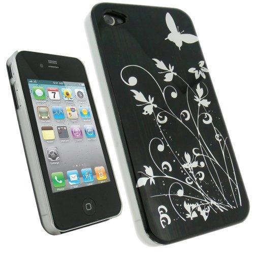 Igadgitz Hartschalentasche Hardcase Schutzhülle Hülle Tasche Case in Schwarz mit Motif silberne Schmetterlinge für iPhone 4 HD 16gb & 32gb + Display Schutzfolie (Iphone 4s Rücken)