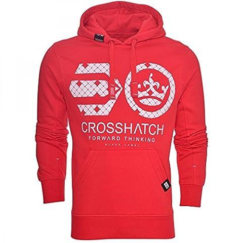 Crosshatch Mens Casual Hoodie Overhead Logo Top Hoody Hooded Fleece Sweatshirt Large Red