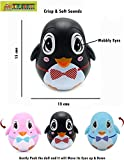 #4: TOY-STATION Push and Shake Wobbling Roly Poly Tumbler Doll with Soft and Sweet Bell Sounds[New Version] (Black Penguin)