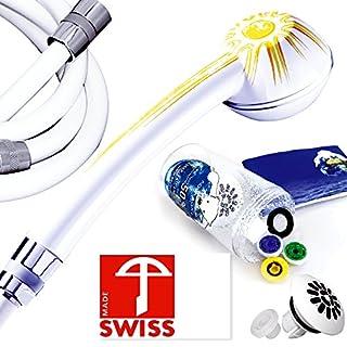Duschkopf-Set wassersparend Soleil! mit textilverstärkten Brauseschlauch, PVC-frei:, 175 cm; Duschbrause mit Massagestrahl, kalkfrei, 3 Regler für 4 Durchflussmengen, Aufsatz für weichen Regenstrahl