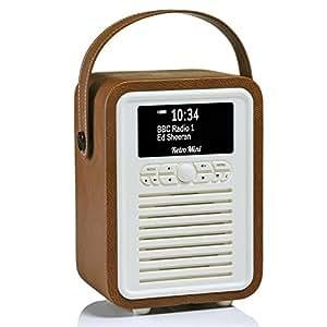 Radio numérique VQ Retro Mini DAB & DAB+ avec FM, Bluetooth et réveil - Marron