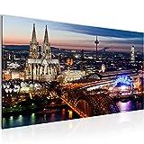 Bilder Köln Wandbild Vlies - Leinwand Bild XXL Format Wandbilder Wohnzimmer Wohnung Deko Kunstdrucke Blau 1 Teilig - MADE IN GERMANY - Fertig zum Aufhängen 601512a