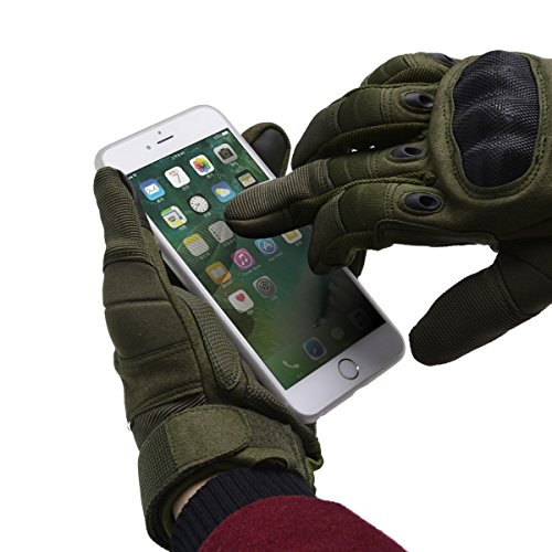 Coofit Sport Handschuhe Winter Motorrad Handschuhe Herren Vollfinger Gloves Biking Skifahre Handschuhe (Grün, L) - 3