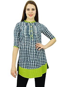 Phagun étnico diseñador del vestido de las mujeres del algodón Kurta modelo abstracto de la túnica Kurti