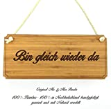 Mr. & Mrs. Panda Türschild Bin gleich wieder da Classic Schild - 100% handgefertigt aus Bambus Holz - Schild Türschild Wandschild Wanddeko Deko Wanddeko Geschenk Hinweisschild Hinweis
