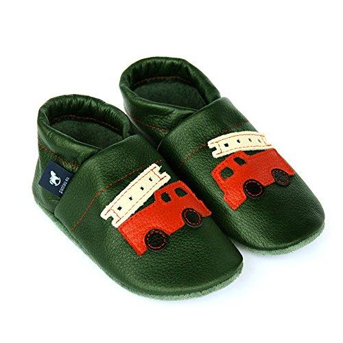 pantau.eu Leder Krabbelschuhe Babyschuhe Lederpuschen Lauflernschuhe mit Feuerwehr Grün-Rot-Beige