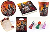 Enter-Deal-Berlin 8 Kinder Set - Ritter - ( Teller, Becher, Servietten, Einladungskarten, Mitgebseltüten + Softbälle Dart )