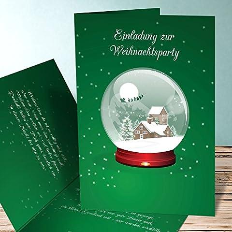 Einladungen zur Weihnachtsfeier, Schneekugel 130 Karten, Vertikale Klappkarte 105x148 inkl. weiße Umschläge, Grün