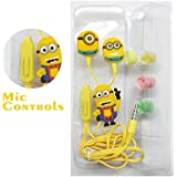 Webilla MINIONS (MORE MINIONS.MORE DESPICABLE) In-Ear Earphone,Includes 3 Additional Earplug Covers Compatible With All Android Device And Apple Device Great For Kids, Boys, Girls, Adults, Gifts Stereo Dynamic Wired Headphones.