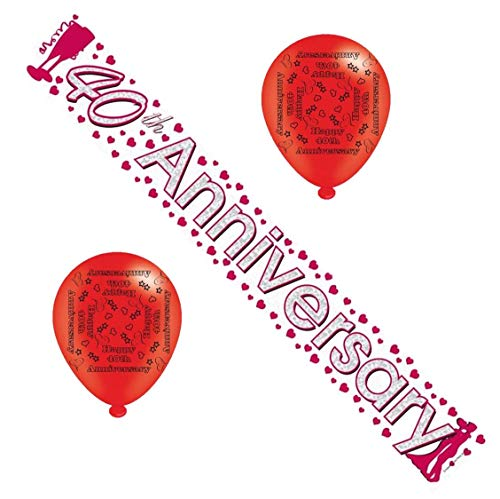 40th Ruby Wedding Anniversary Party Pack Banner, Confetti, Balloons by Cards Galore (40th Wedding Anniversary Dekorationen)