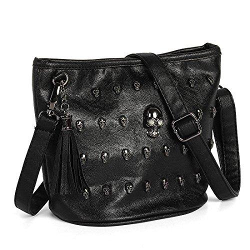 Handtasche aus Kunstleder mit Quaste, Totenkopf-Nieten, Punk, Gothic, Schultertasche von OURBAG
