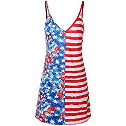 HCFKJ Mujer Embarazada Mujeres Maternidad Sin Mangas Sundress Embarazo Bandera Americana 4 De Vestido De Julio