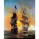 DAMENGXIANG DIY Handgemalten Nummern Oil Painting Kits Marine Segelschiff Landschaft Abstrakte Kunst Bilder Für Wohnzimmer Home Decor 40 × 50 cm Ohne Rahmen