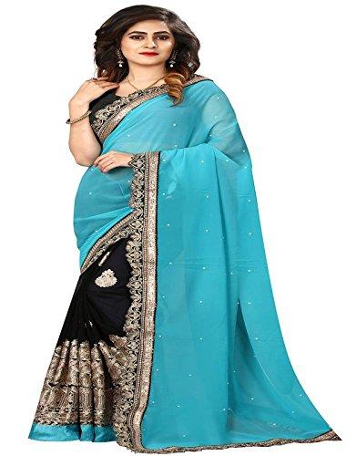 I-Brand Women's Georgette & Rowsilk & Net Saree With Blouse Piece (Blue,...