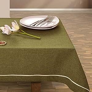 115x220 olivengrün dunkelgrün grün Tischdecke Tischtuch elegant praktisch pflegeleicht Leinoptik Lein Optik mit Borte Modern Lein