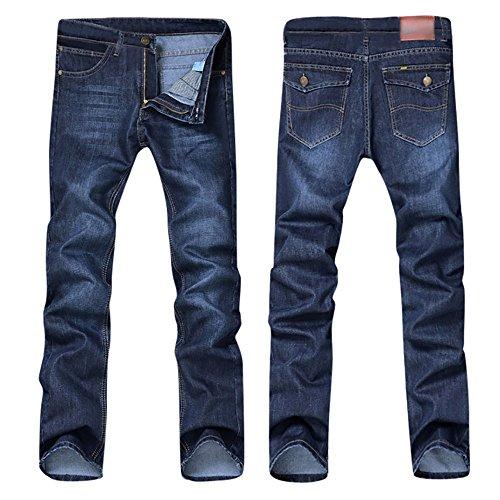 CAOQAO Pantaloncini da Uomo Jeans/Moda Casual da Uomo Cintura Cintura con Cerniera Pulsante Lavato Jeans Larghi e Confortevoli/Blu / 28-38
