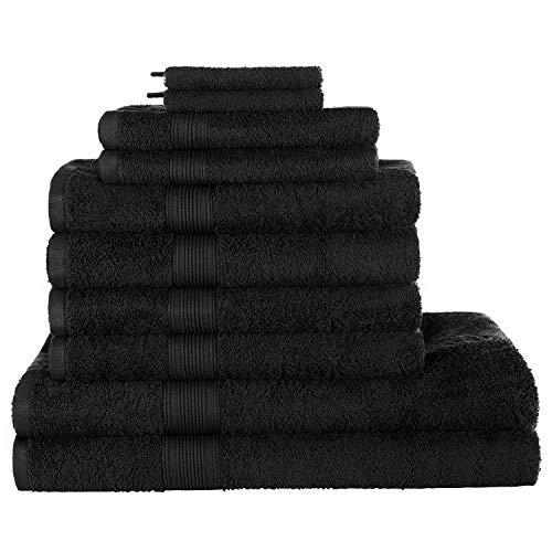 REXOO Frottee Handtücher Saunatuch Handtuch Gästetuch Badetuch Duschtuch 500g/m², Farben:Schwarz, Größen:Waschhandschuh 15x21 cm