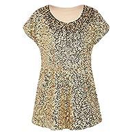 CRYYU Women Roundneck Sequins Club Short Sleeve Fashion T-Shirt Top Blouse Golden XS