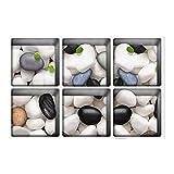 PAG 6 13 x 13 cm Cobblestone Muster 3D rutschfeste Wasserdicht Badewanne Aufkleber Waschtisch Anti-Rutsch-3D Abziehbilder Waschtisch Bodenfliesen Ziegel Waschbar Dusche Raum Dekor Ungfu Mall