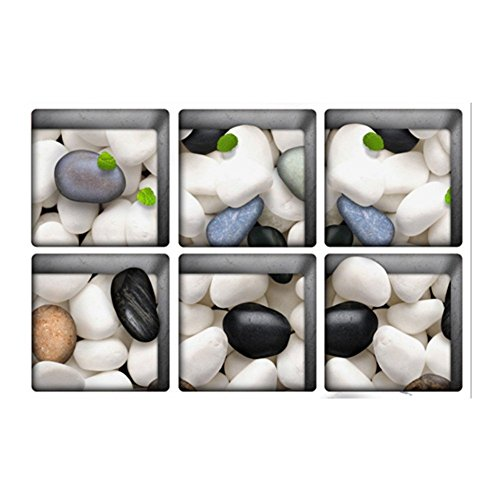 PAG 6 13 x 13 cm Cobblestone Muster 3D rutschfeste Wasserdicht Badewanne Aufkleber Waschtisch Anti-Rutsch-3D Abziehbilder Waschtisch Bodenfliesen Ziegel Waschbar Dusche Raum Dekor Ungfu Mall (Badewanne Abziehbilder)