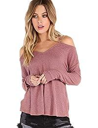 e93f090c1faa10 ROMWE Damen Cold Shoulder Gerippt V-Ausschnitt Langarm Shirt Oberteil