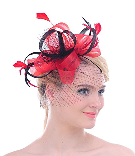 Wedding Bridal Looped nastro Net velo piuma capelli Clip Fascinator Cocktail Kentucky Derby Cappello Red Medium