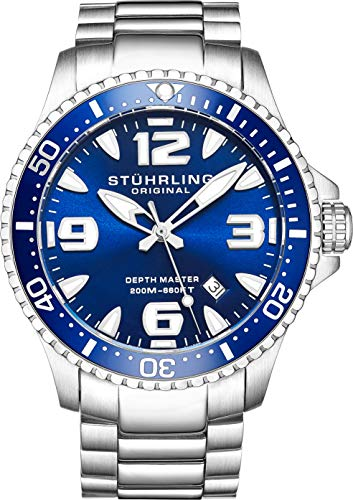 Stuhrling Original Blue Face Professional la plongée Montres pour Homme Swiss Quartz résistant 200 mètres Bracelet en Acier Inoxydable à l'eau Screw Down Crown Designers Elegant Chic Sport Watch