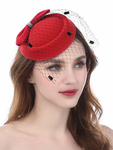 FEIBAO Tee-Party Faszinator Federhut Feder Haarklammer Pillbox Hut für Mädchen
