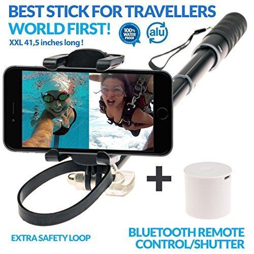 e-clips Selfie Stick / Selfie Stange für Reise+Sport mit Alarmanlage, BT Lautsprecher, Freisprecheinrichtung, Fernauslöser für iphone 6 und 7 plus