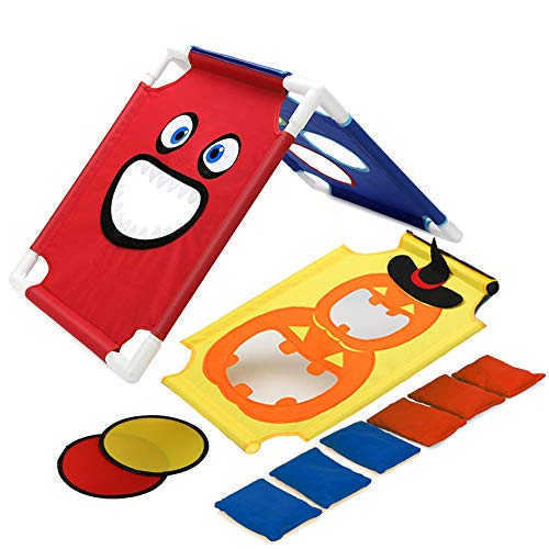 Pellor Cornhole Spiel Set, Drinnen und Draußen Spielzeug PVC Cornhole Boards mit 6 Bean Bags Für Kinder