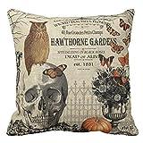Kfnire gufo su scheletro halloween getta cuscino cassa divano cuscino copertura decorazione casa quadrata