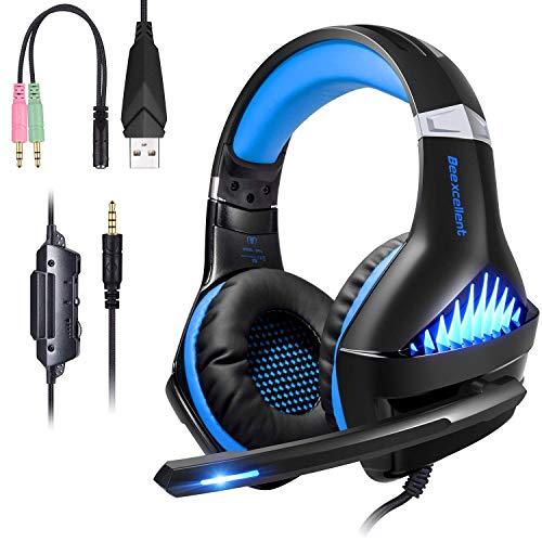 ShinePick Cascos Gaming ps4,Auriculares para Juegos con micrófono Luz LED Auriculares con Cable Sobre el oído Reducción de Ruido estéreo Auricular para Juegos PS4 y PC Xones/PC (Azul)