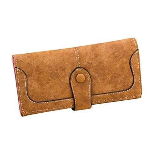Leinwand Tri-fold Wallet (Zantec Frauen Retro PU Leder Splitting Kreditkarteninhaber weichen langen Trifold Frosted Wallet Geldbörse)