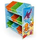 Homestyle4u 1121 Kinderregal Meer Fische , Spielzeugregal 9 farbige Boxen als Ablage aus Stoff , Holz Mehrfarbig