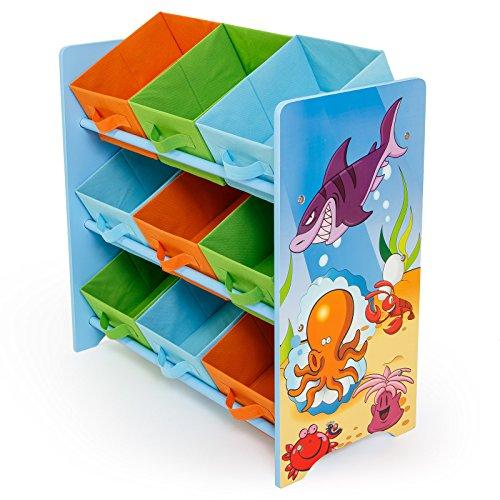 Homestyle4u 1121 Kinderregal Meer Fische , Spielzeugregal 9 farbige Boxen als Ablage aus Stoff , Holz Mehrfarbig -