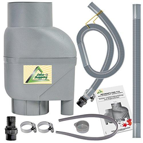AMUR REGENSAMMLER Regenfilter T33 Fallrohrfilter mit Entnahme-Set Filter grau Entnahme-Set, passt für Jede Regentonne und Regenfass