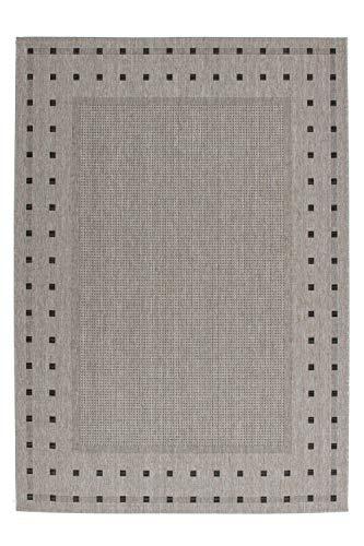 One Couture Flachflor Sisal Teppich Modern Flecht Look Jute Rücken Anthrazit/Silber, Größe:120cm x 170cm - Jute Sisal-teppich