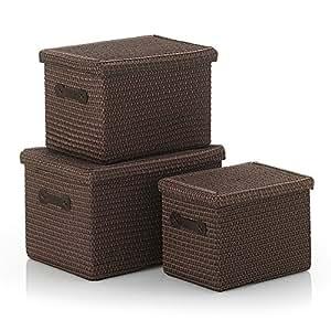 kela 31282 rimossa lot de 3 paniers de rangement avec couvercle marron chocolat. Black Bedroom Furniture Sets. Home Design Ideas