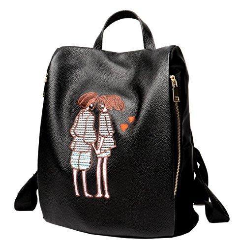 SAIERLONG Damen Schwarz Echtes Leder Rucksack Umhängetasche Tasche Reisen