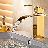 Auralum® Mitigeur Lavabo Robinet Economiseur d'eau Cascade de Salle de Bain en Laiton Finition dorée Robinet Lave Mains Eau Chaude et Froide