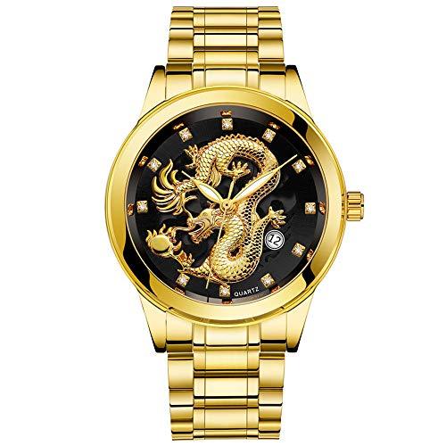 Waselia Luxusuhren Kaufen Uhren Preise Uhren Modische Uhren Herren/Uhr Schwarz Damenuhren GüNstig Kaufen/Wasserdichte Herren Gold Dragon Skulptur Quarz Uhr Luxus MäNner Stahl Armbanduhr